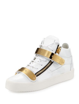 Double Strap Patent Mid Top Sneaker, Gold/White by Giuseppe Zanotti