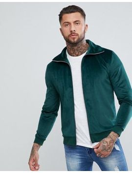 Asos Track Jacket In Green Velour by Asos