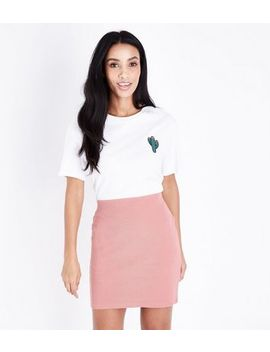 Coral Ribbed Tube Skirt by New Look