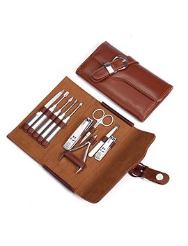 Manicure Set Nail Clipper Set Of 10pcs With Leather Case   Professional Stainless Steel Grooming Kit Pedicure Set For Travel by Keiby Citom