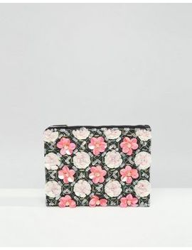 Asos Grid Floral Zip Top Clutch Bag by Asos Collection