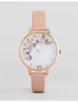 Olivia Burton 1052138 Enchanted Garden Leather Watch In Pink & Rose Gold by Olivia Burton