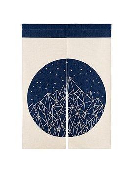Mr Fantasy Cotton Linen Noren Japanese Doorway Curtain Tapestry Modern Geometric Mountain 33x47 In by Mr Fantasy