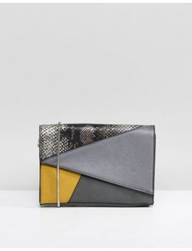 Nali Mustard Patchwork Envelope Clutch Bag by Cart