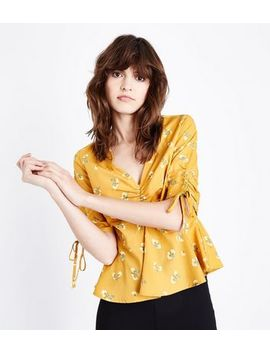 Yellow Floral Print Gathered Front Peplum Top by New Look