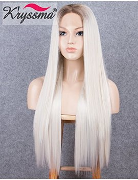 K'ryssma Blonde Lace Front Wigs For Women Long Straight Ombre Synthetic Wig With Dark Roots Heat Resistant by K'ryssma