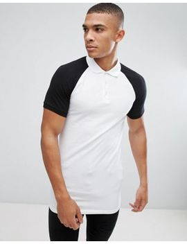Asos Longline Muscle Polo With Contrast Raglan by Asos