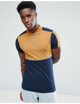 Asos Muscle Polo Shirt With Color Block And Zip Neck by Asos