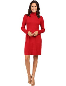 Turtleneck Long Sleeve Solid Pleat Dress by Adrianna Papell
