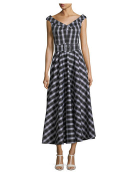 Madras Check Print Stretch Cotton Poplin Midi Dress by Michael Kors Collection