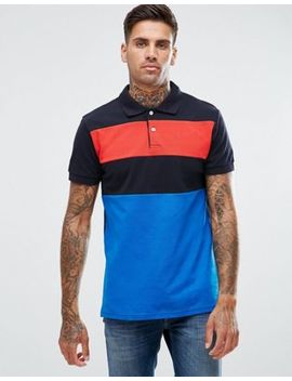 Pull&Bear Short Sleeve Polo With Contrast Stripe In Blue by Pull&Bear