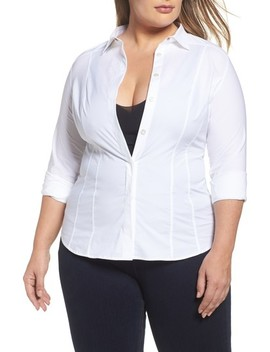 Beauty Poplin Button Down Shirt by Ashley Graham X Marina Rinaldi
