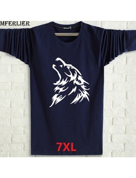 Mferlier Autumn Winter Men  T Shirts Funny Long Sleeve 6 Xl 7 Xl Cheap 23 Plus Size Big 5 Xl Casual T Shirt Wolf Loose Blue Navy Red by Shop2949139 Store
