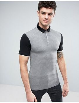 River Island Muscle Fit Polo Top In Gray And Black by River Island
