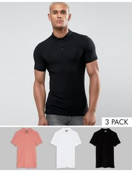 Asos Extreme Muscle Polo 3 Pack Save by Asos