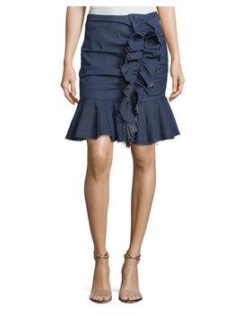 Ruffled Chambray Mini Skirt by Caroline Constas
