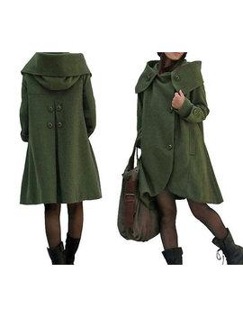 Dark Green Cloak Wool Coat Hooded Cape Women Winter Wool Coat by Etsy
