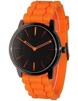 Tzou New Orange W/ Black Silicone Jelly Watch by Tzou