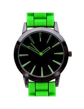 New Geneva Lime W/ Black Silicone Watch by Geneva
