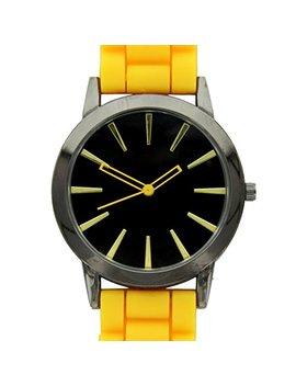 New Geneva Yellow W/ Black Silicone Watch by Geneva