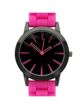 Tzou New Hot Pink W/ Black Silicone Watch by Tzou