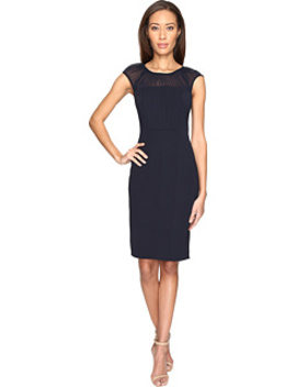 Gathered Netting Yoke Power Stretch Sheath Dress by Adrianna Papell