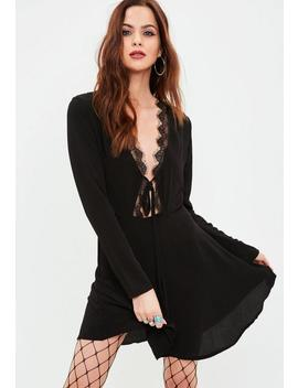 Black Lace Trim Tea Dress by Missguided