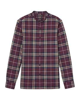 Grant Slim Fit Flannel Banded Collar Tartan Shirt by Banana Repbulic