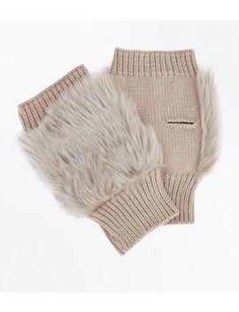 Mink Faux Fur Panel Handwarmer Gloves by New Look