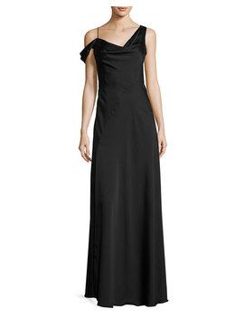 Asymmetric Crepe De Chine Gown, Black by Jill Jill Stuart