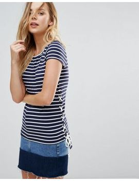 Brave Soul Julian Stripe T Shirt With Tie Sides by Top