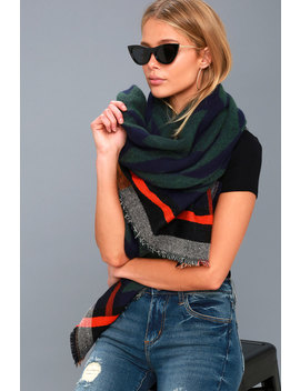 Cuddle Buddies Navy Blue Print Scarf by Lulus