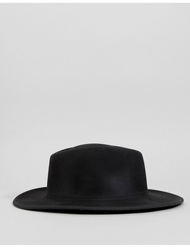 Asos Wide Brim Pork Pie Hat In Black With Distressing by Asos