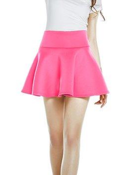 Urban Co Co Women's High Waist Mini Skirt A Line Flared Skater Mini Dress (Medium, Coral) by Urban Co Co