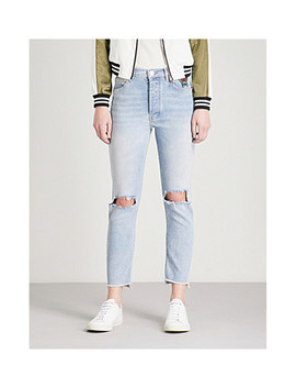 Paolo Distressed Skinny High Rise Jeans by Maje