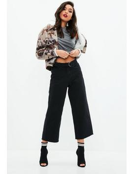 Black Wide Leg Belted Cropped Jeans by Missguided