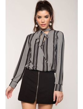Tie Neck Stripe Surplice Blouse by A'gaci