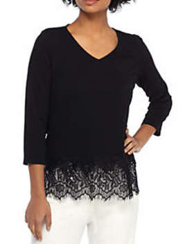 Lace Trimmed V Neck Top by The Limited