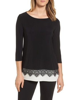 Lace Trim Knit Top by Chaus