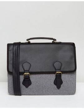 Asos Satchel In Black Faux Leather With Gray Melton by Asos