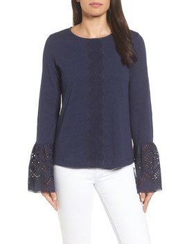 Eyelet Bell Sleeve Top by Caslon®