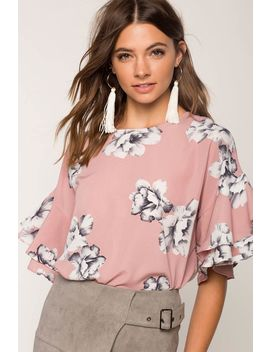 Floral Ruffle Blouse by A'gaci