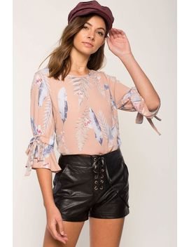 Feather Tie Sleeve Blouse by A'gaci