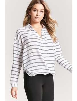 Striped Surplice Hem Chiffon Shirt by F21 Contemporary