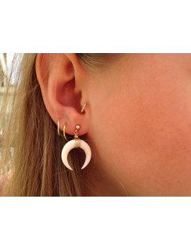 Double Horn Earring White Crescent Pendant  Bohemian   Gold Filled | Sterling Silver by Etsy