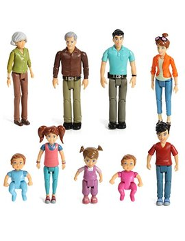 Sweet Li'l Family Set Of 9 Action Figure Set  Grandpa, Grandma, Mom, Dad, Sister, Brother, Toddler, Twin Boy & Girl by Beverly Hills Doll Collection Tm