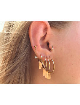 Gold Filled Tag Hoop Earring With Initial    Gold Hoop Earrings   Personalized Earring by Etsy