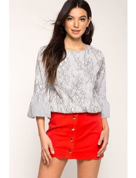 Stripe Lace Overlay Blouse by A'gaci
