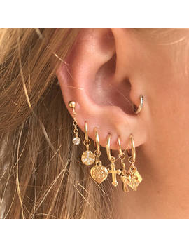 Gold Filled Hoop Earring | Gold Charms | Gold Small Hoops   Single Earring by Les Deuxjewelry