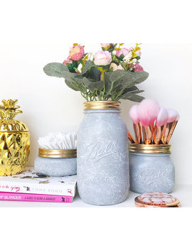Grey Marble Mason Jar, Grey Nursery, Marble Desk Accessories, Makeup Brush Holder, Grey Pen Pot, Marble Makeup Storage, Grey Desk Organiser by Etsy